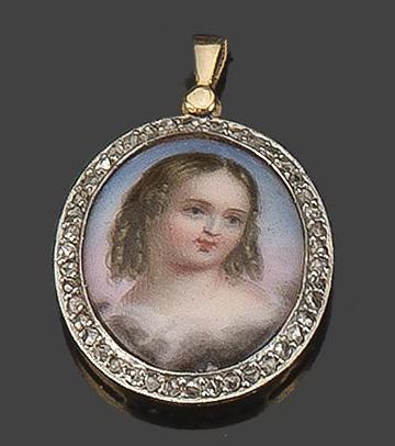 Colgante.-Oro-18-k.-Medallon-porcelana-.-S.-XX